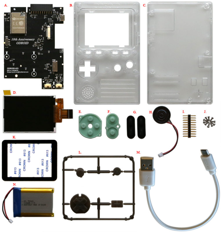 All of the components of the ODROID GO set out on a white background